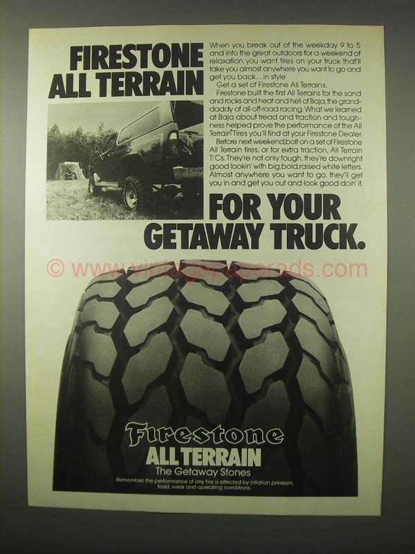 1980 Firestone All Terrain Tires Ad For Getaway Truck