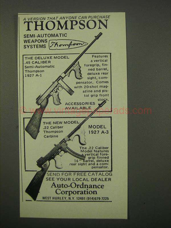 1979 Auto-Ordnance Ad - Thompson 1927 A-1, 1927 A-3