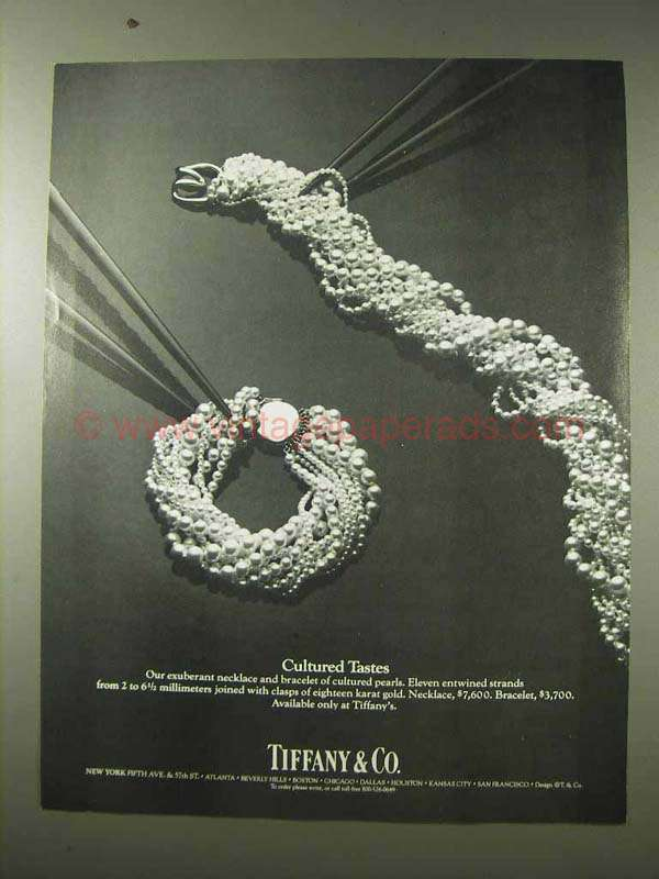 1984 Tiffany & Co. Pearl Necklace and Bracelet Ad