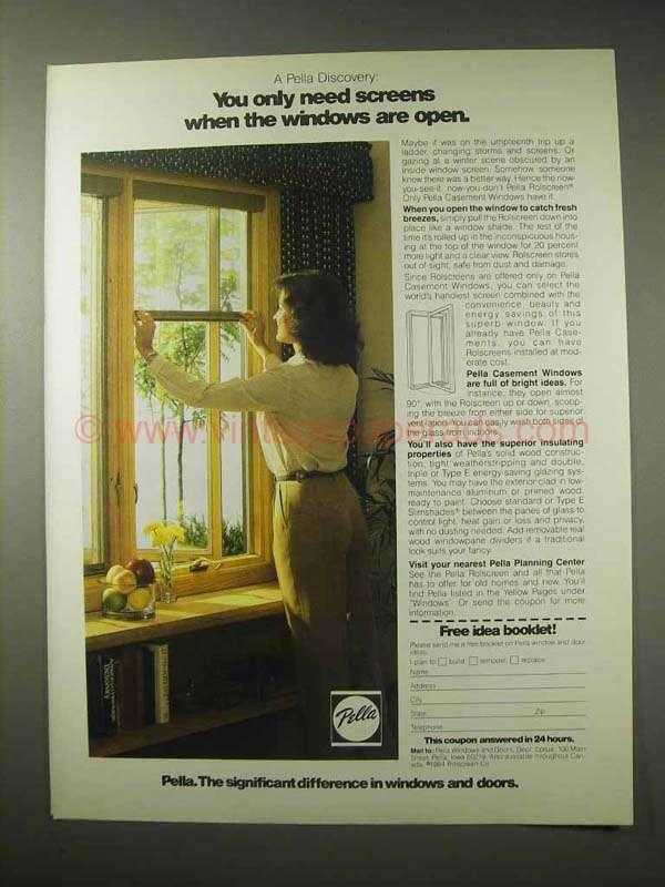 1984 pella casement windows ad screens when open for Pella casement window screens