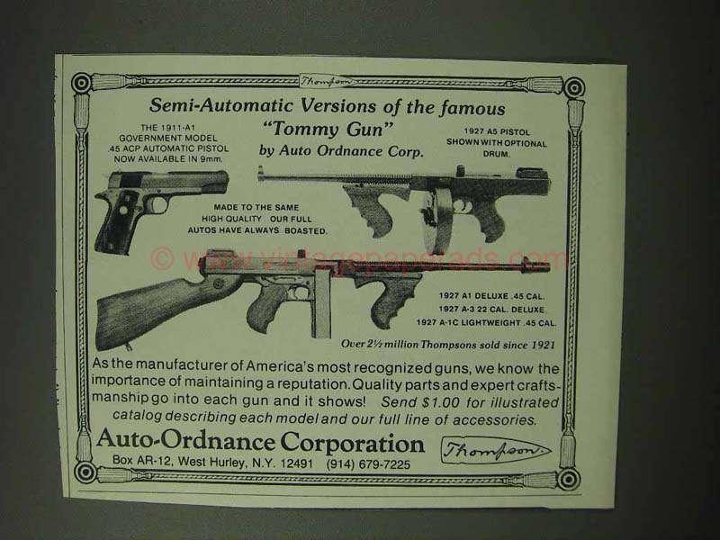 1984 Auto-Ordnance Thompson Guns Ad -1927 A5 Pistol