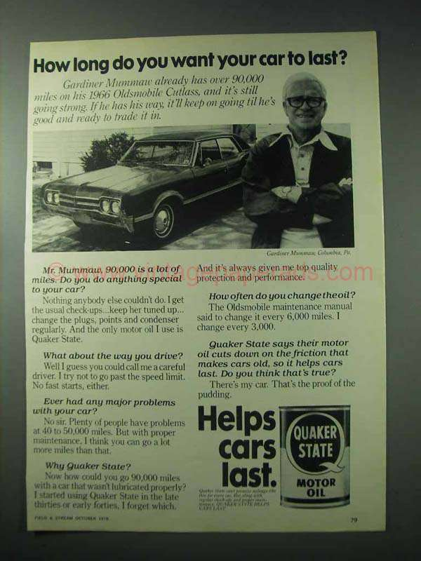 1978 quaker state motor oil ad how long your car last