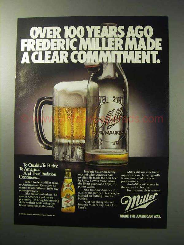 1986 Miller High Life Beer Ad - Clear Commitment