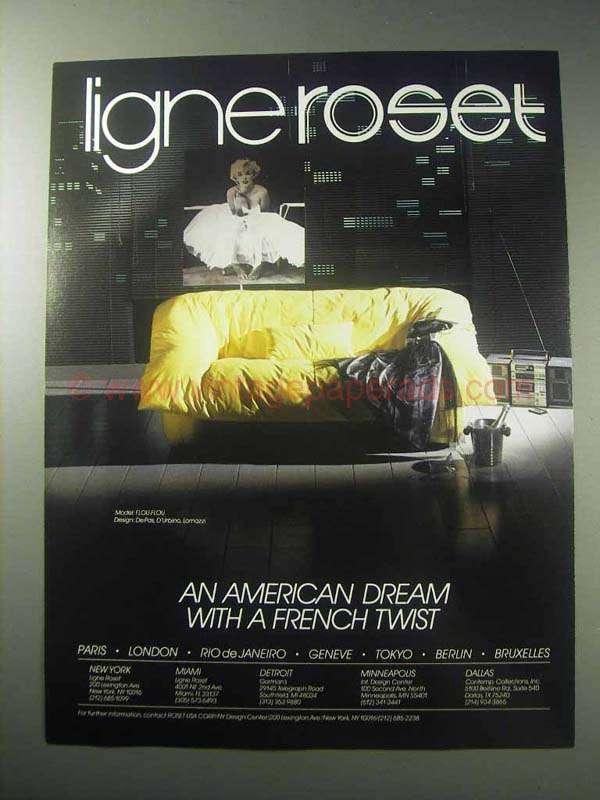 1985 ligne roset furniture ad model flou flou couch. Black Bedroom Furniture Sets. Home Design Ideas