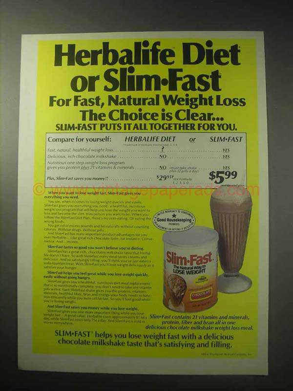 1985 Slim-Fast Weight Loss Ad - Herbalife Diet