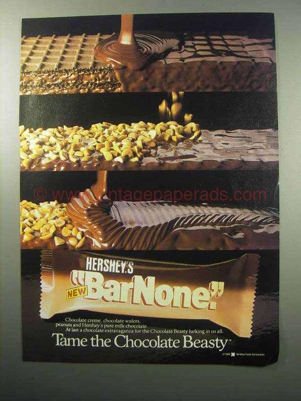1987 Hershey's Bar None Chocolate Bar Ad - Tame Beasty