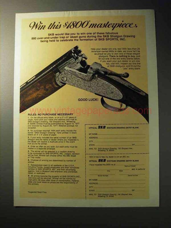 1977 SKB Shotgun Ad - Win This Masterpiece