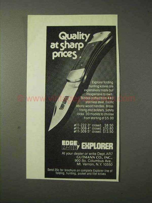1977 Gutmann Edge Mark Explorer Knife Ad - Quality