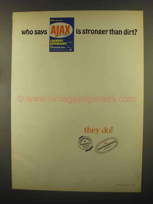 1965 Ajax Laundry Detergent Ad - Stronger Than Dirt