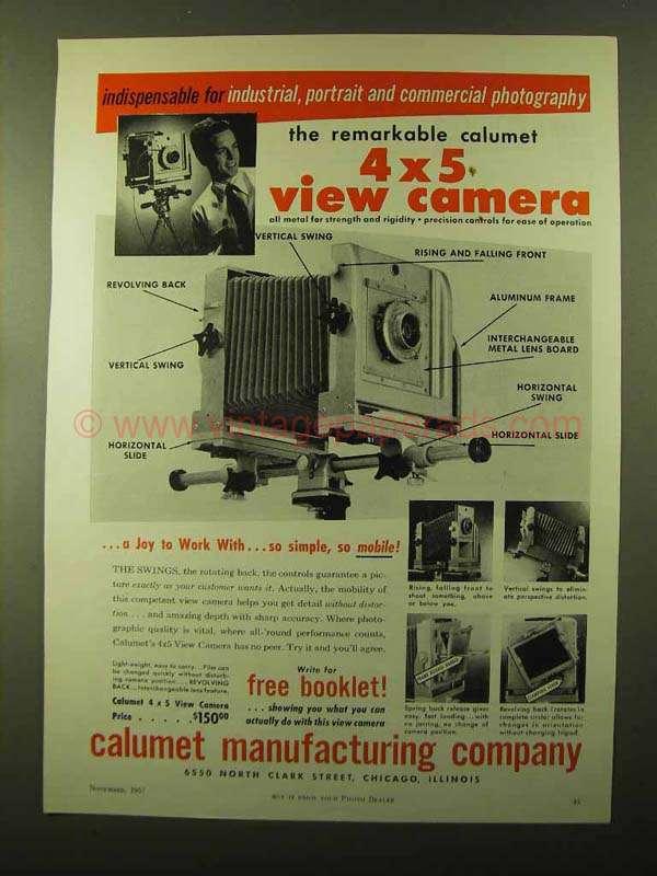 Vintage calumet 4x5 cameras logically