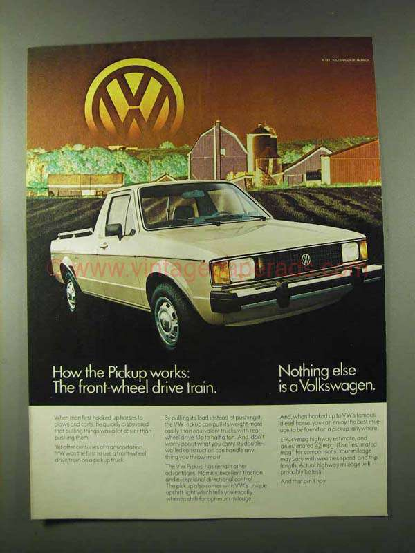 1982 volkswagen pickup ad front wheel drive train. Black Bedroom Furniture Sets. Home Design Ideas