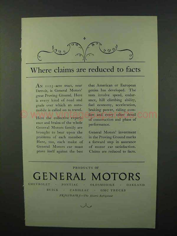 1926 General Motors Ad Claims Are Reduced To Facts