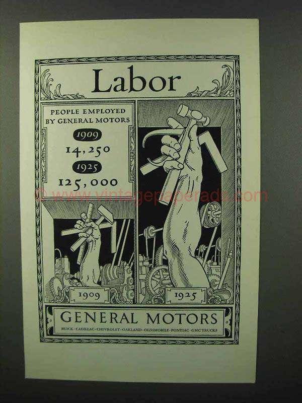 1926 General Motors Ad Labor