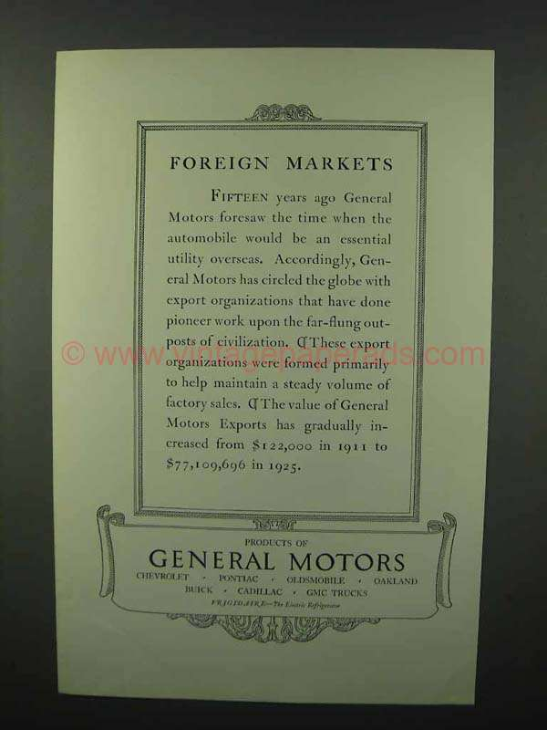 1926 General Motors Ad Foreign Markets