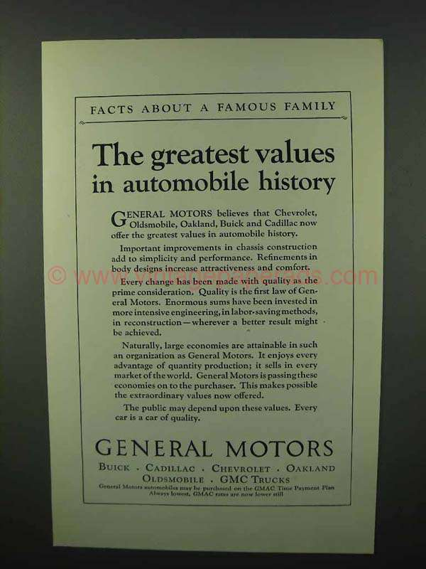 1925 General Motors Ad Greatest Values In History