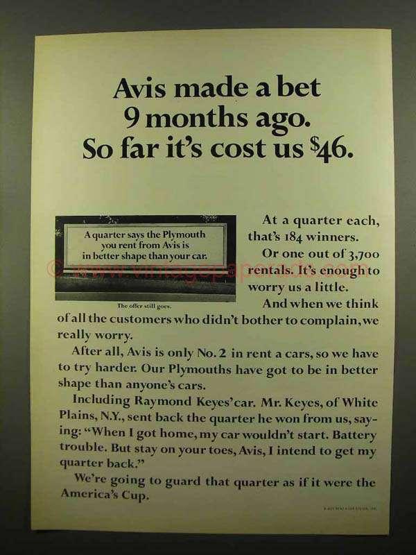 1965 avis rent a car ad made a bet 9 months ago. Black Bedroom Furniture Sets. Home Design Ideas