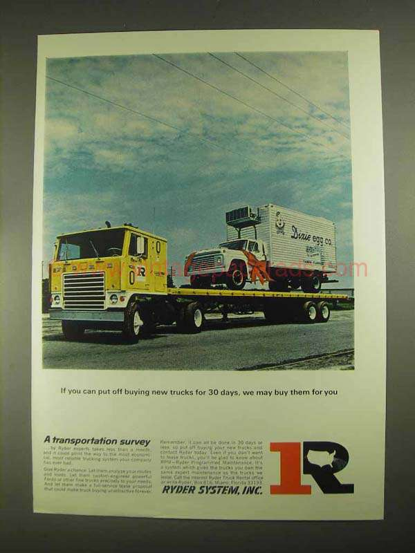 Rental Trucks For Moving >> 1967 Ryder System Ad - Put Off Buing New Trucks