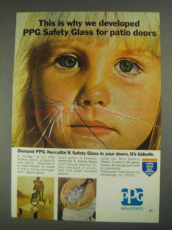 1967 Ppg Herculite K Safety Glass Ad For Patio Doors