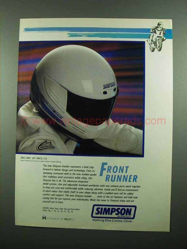 1989 Simpson Invader Motorcycle Helmet Ad : CR0138 Simpson <strong>M50 Helmet</strong> from www.vintagepaperads.com size 600 x 800 jpeg 41kB