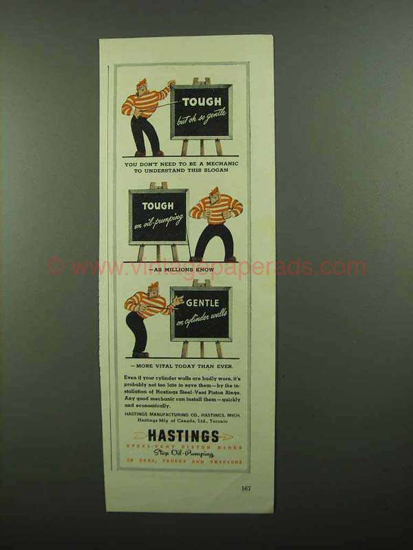 1942 Hastings Steel-Vent Piston Rings Ad - This Slogan