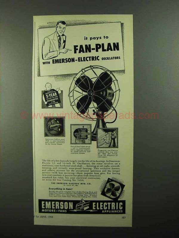 1950 Emerson Electric Oscillating Fans Ad Fan Plan