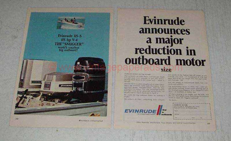 1969 Evinrude 115-S Outboard Motor Ad - Reduction