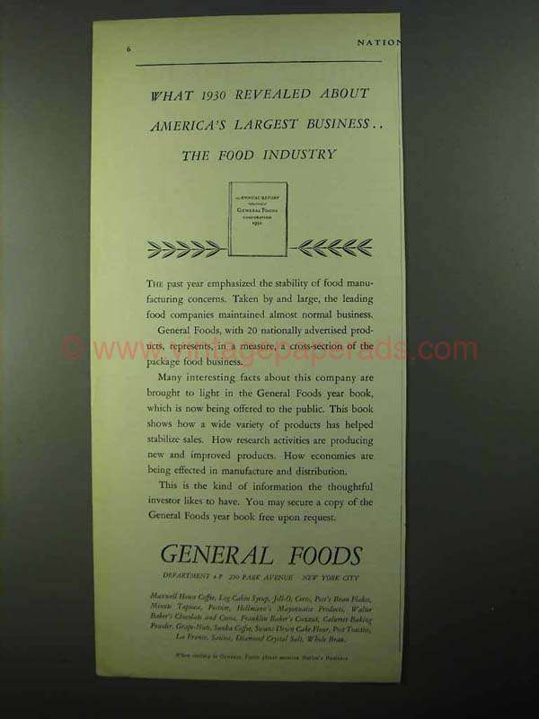 1931 General Foods Ad - Revealed About Food Industry