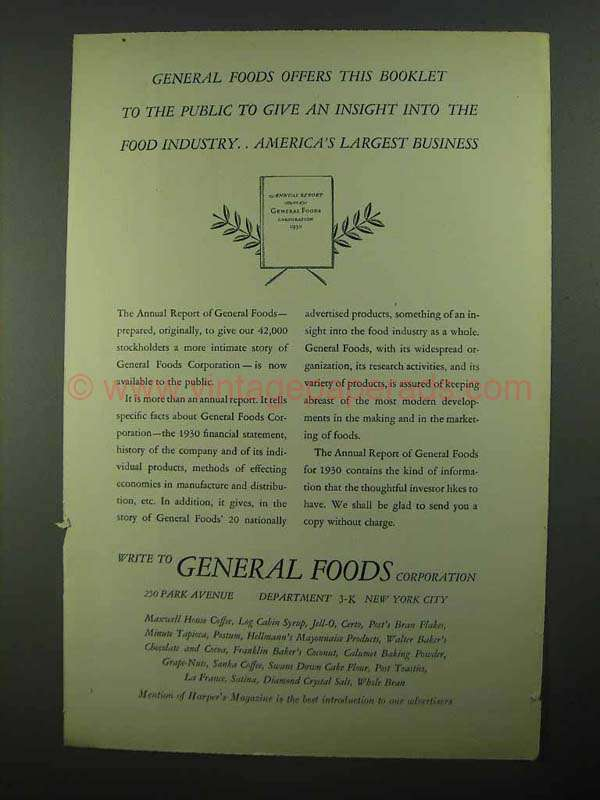 1931 General Foods Ad - Insight Into The Food Industry
