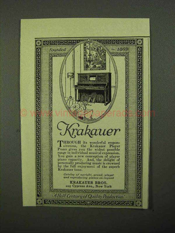 1922 Krakauer Player Piano Ad