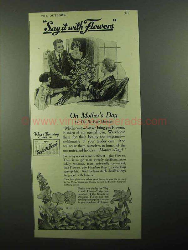 1920 FTD Florists' Telegraph Delivery Ad - Mother's Day