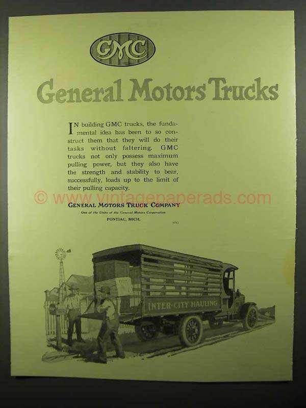 1920 Gmc General Motors Trucks Ad Inter City Hauling