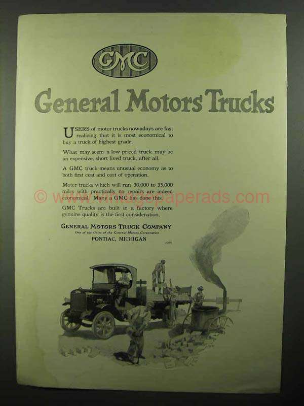 1920 Gmc General Motors Trucks Ad Road Brick Layers