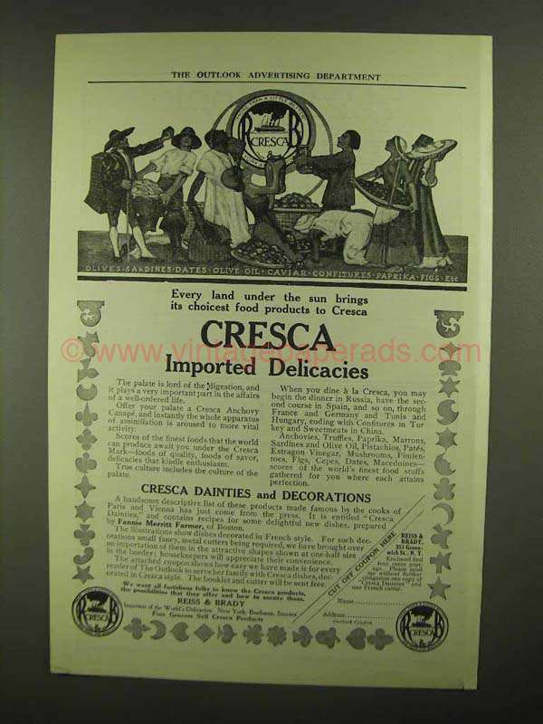 1909 Cresca Imported Delicacies Ad - Every Land