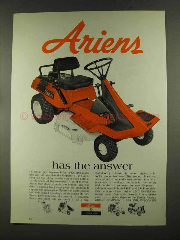 1972 Ariens Emperor Ii Riding Mower Ad The Answer