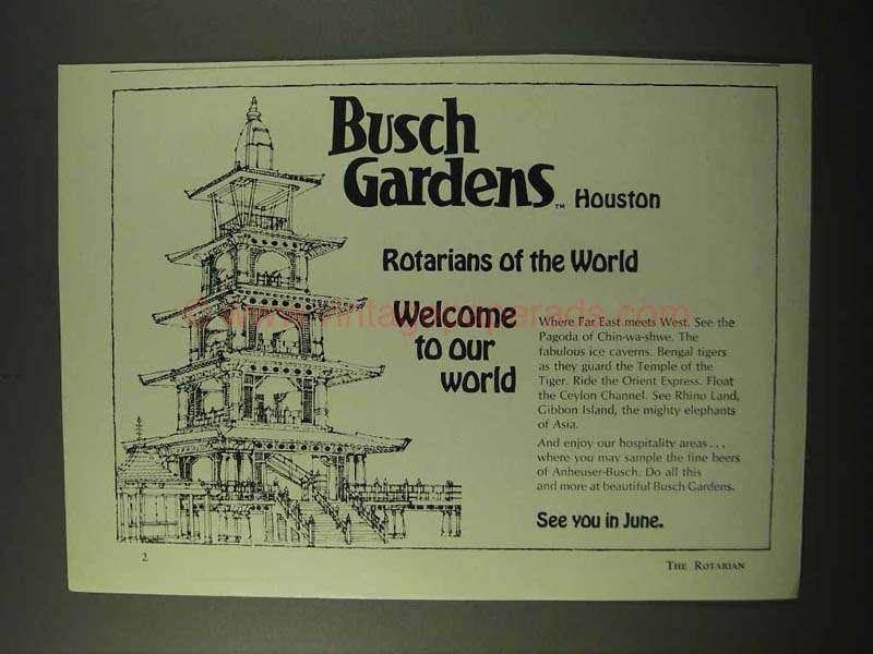 1972 Busch Gardens Houston Ad Rotarians Of World