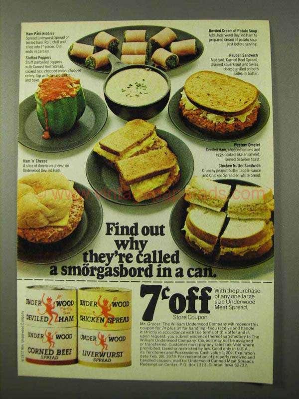 1972 Underwood Ad - Deviled Ham, Corned Beef