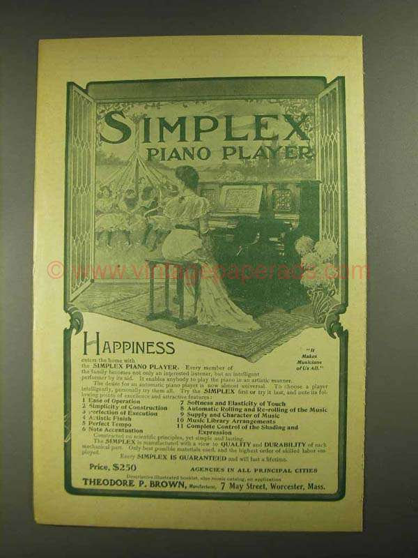 1903 Simplex Piano Player Ad - Happiness