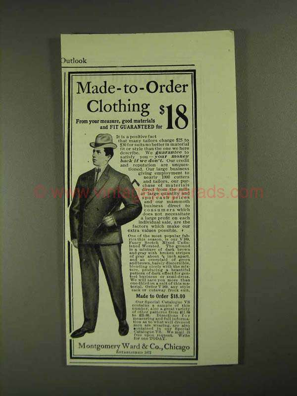 1903 montgomery ward clothing ad made to order for Made to order shirts online