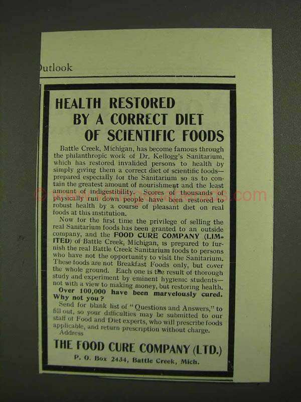 1903 The Food Cure Company Ad - Health Restored by Diet