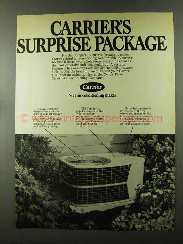 1973 Carrier Compact Air Conditioner Ad Surprise