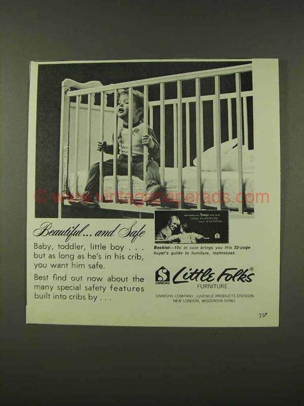 1973 Little Folks Furniture Cribs Ad Beautiful Safe