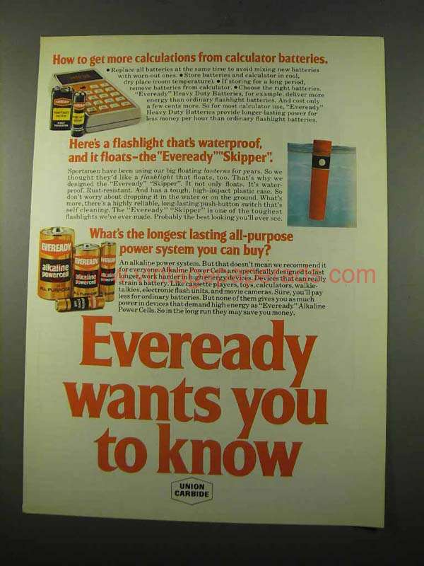 1975 Eveready Batteries Ad - More Calculations