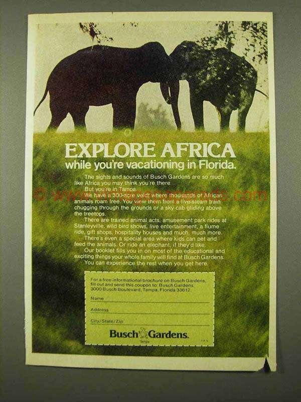 1975 Busch Gardens Florida Ad Explore Africa