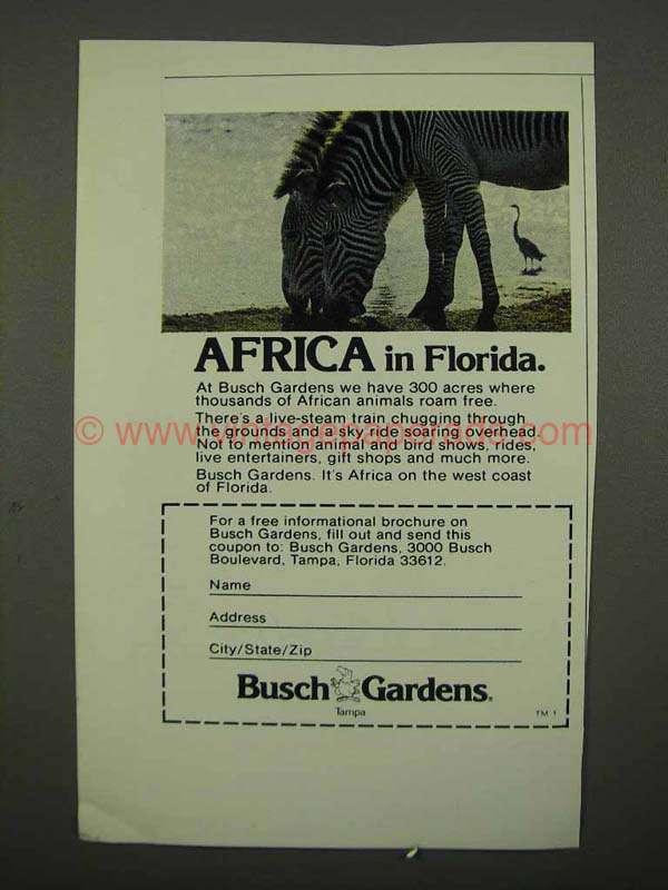 1975 Busch Gardens Tampa Ad Africa In Florida