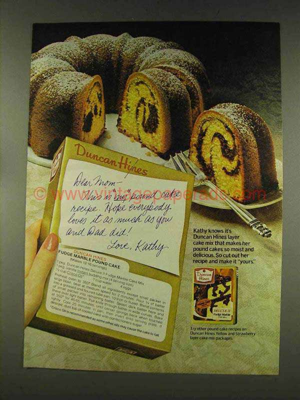 1977 Duncan Hines Deluxe Ii Cake Mix Ad Fudge Marble