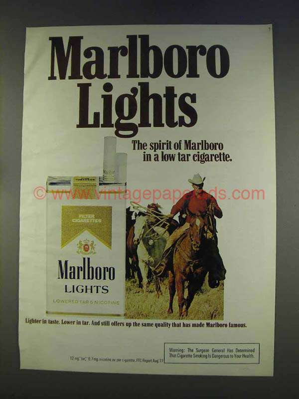 1977 Marlboro Lights Cigarettes Ad - Marlboro Man
