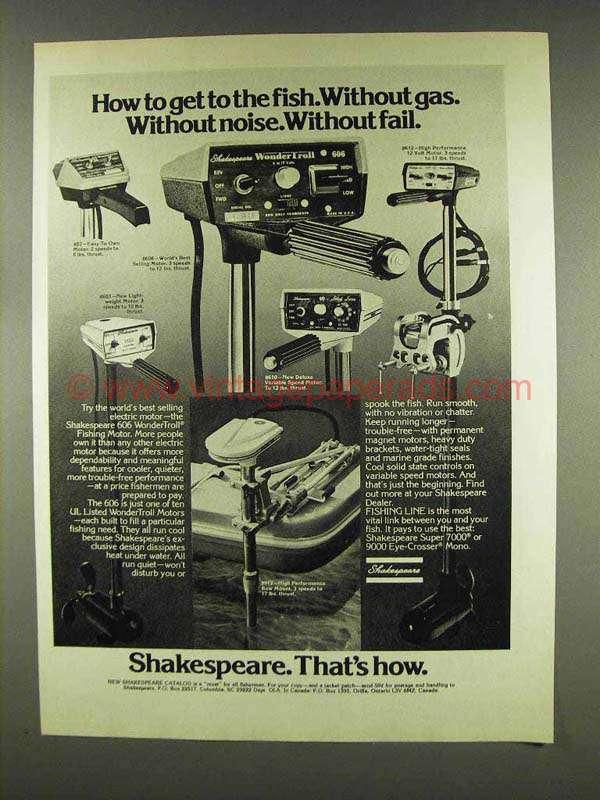 1977 Shakespeare 606 Wondertroll Fishing Motor Ad