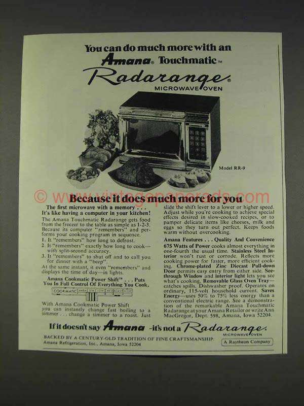 1977 Amana Model Rr 9 Microwave Oven Ad