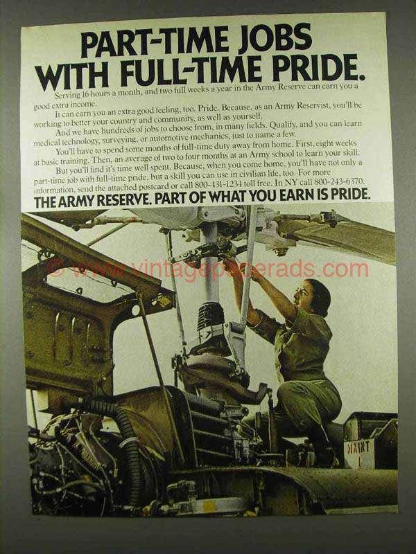 1978 U S  Army Reserve Ad - Full-Time Pride