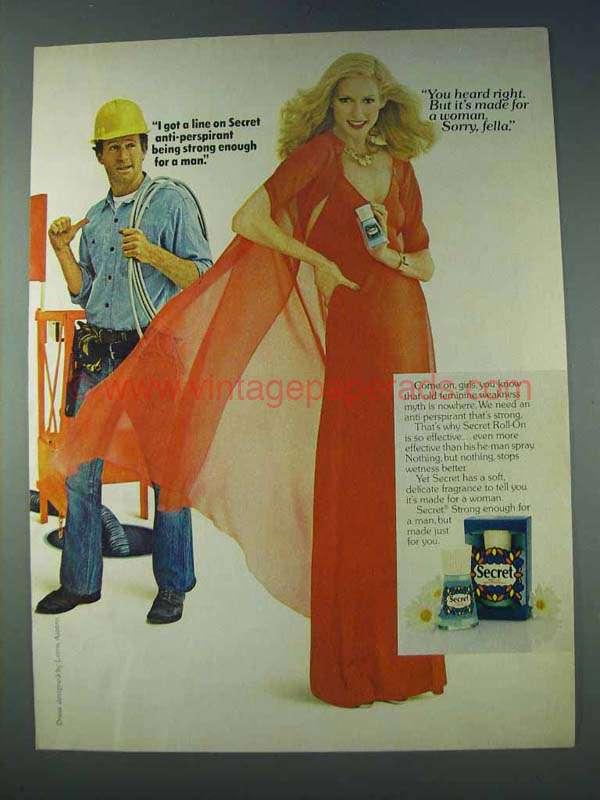 1978 Secret Deodorant Ad - I Got a Line On